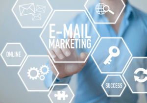 A photo design graphic of email marketing